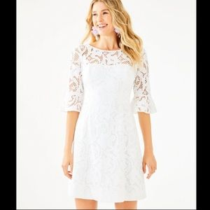 NWT Lilly Pulitzer 3/4 Sleeve Lace Dress White